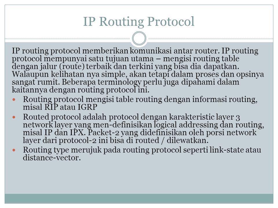 IP Routing Protocol