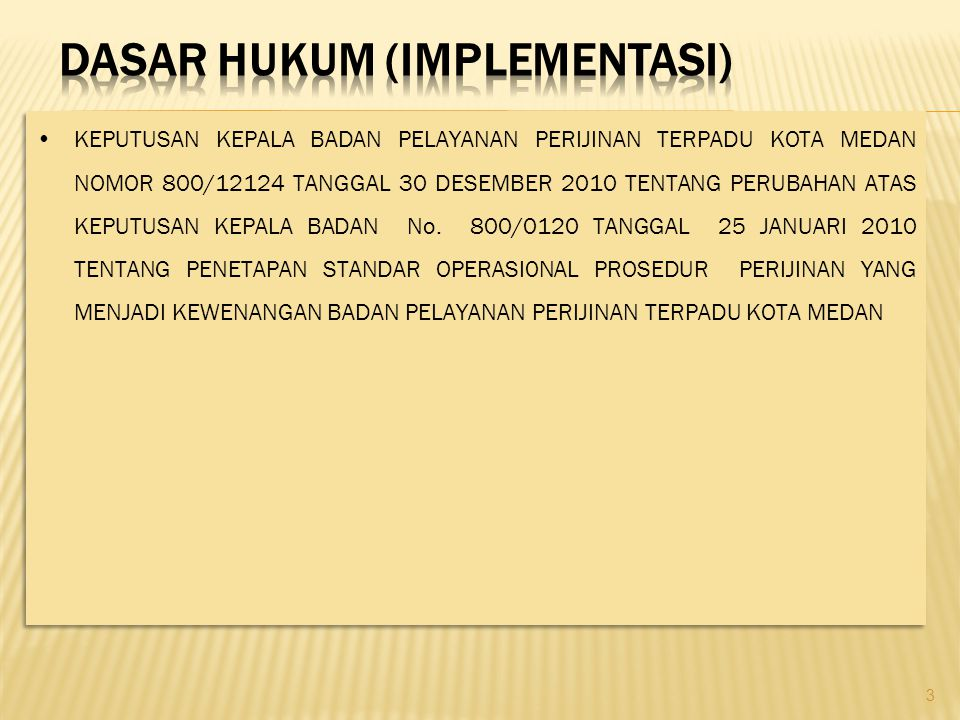 DASAR HUKUM (IMPLEMENTASI)
