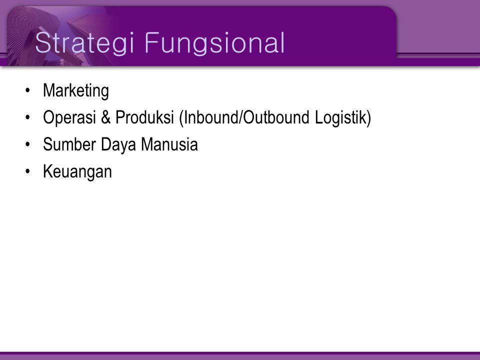 Strategi Fungsional Marketing