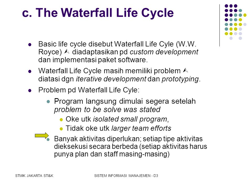 c. The Waterfall Life Cycle