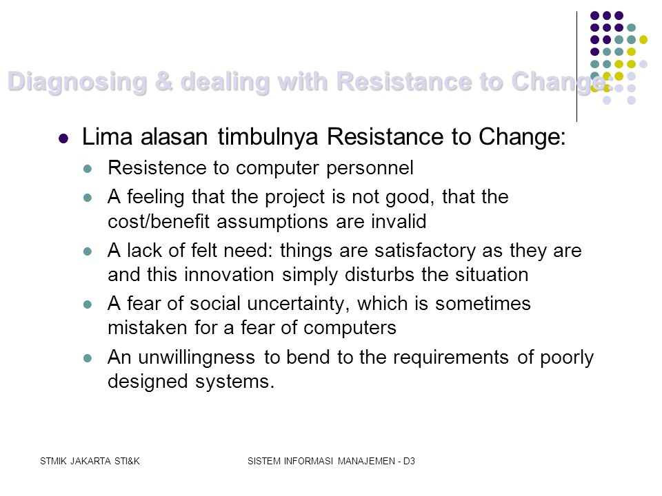 Diagnosing & dealing with Resistance to Change: