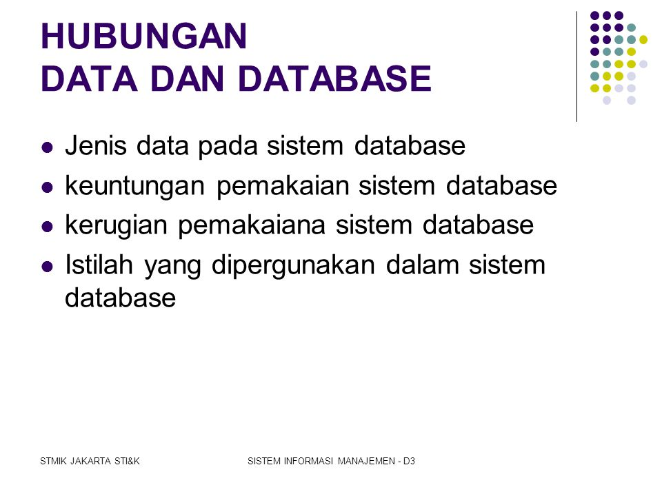 HUBUNGAN DATA DAN DATABASE