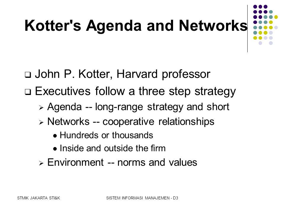 Kotter s Agenda and Networks
