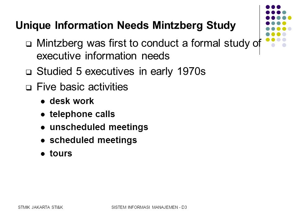 Unique Information Needs Mintzberg Study