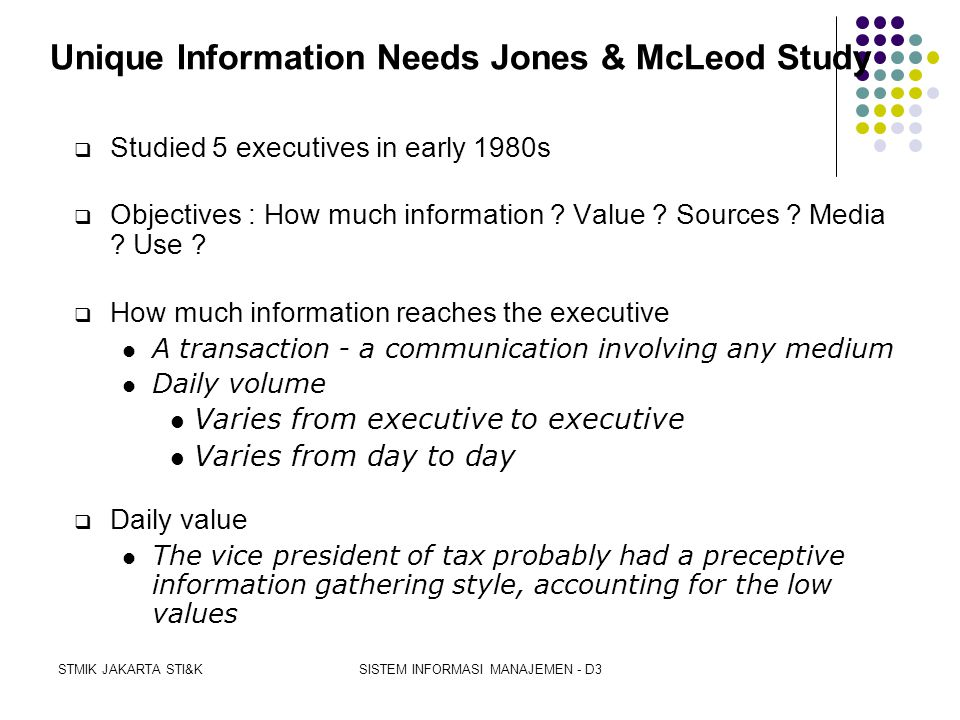 Unique Information Needs Jones & McLeod Study