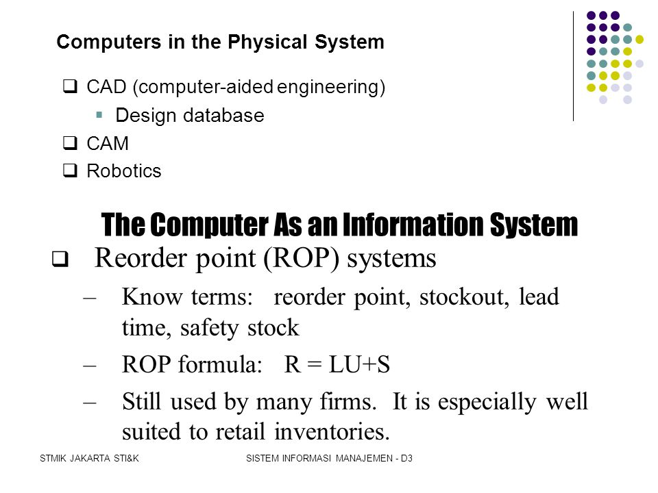 Computers in the Physical System