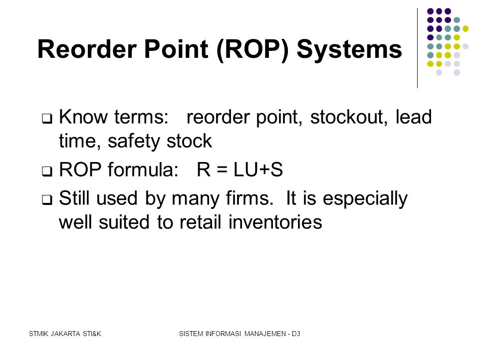 Reorder Point (ROP) Systems