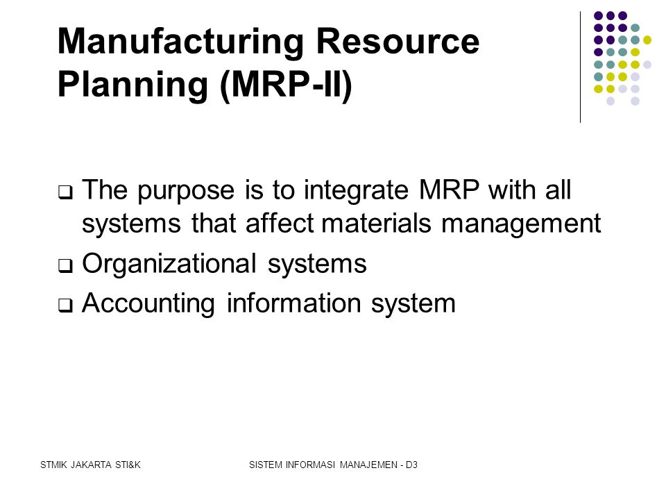 Manufacturing Resource Planning (MRP-II)