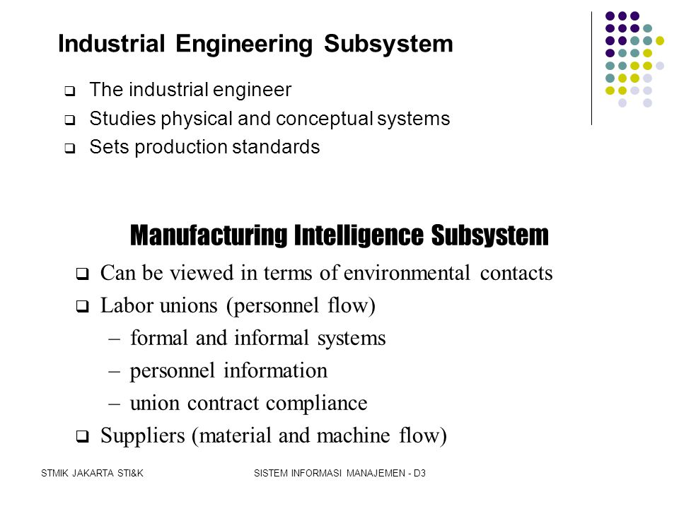 Industrial Engineering Subsystem