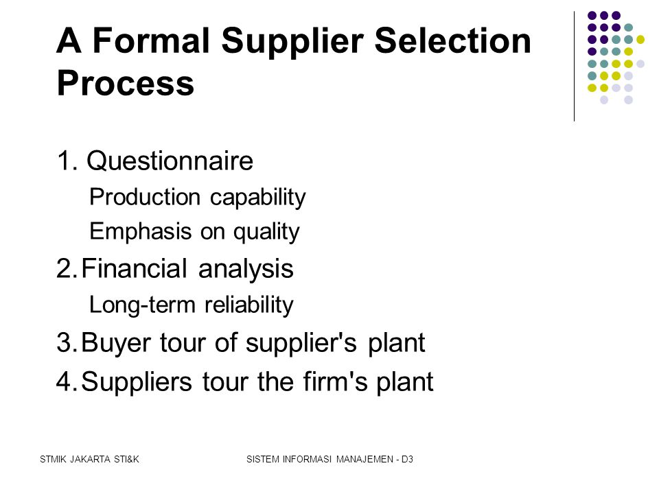 A Formal Supplier Selection Process