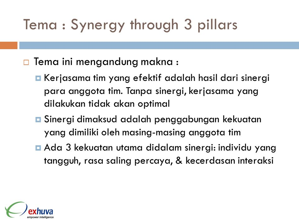 Tema : Synergy through 3 pillars