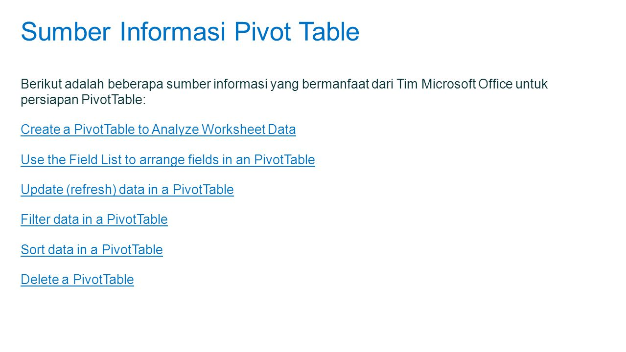 Sumber Informasi Pivot Table