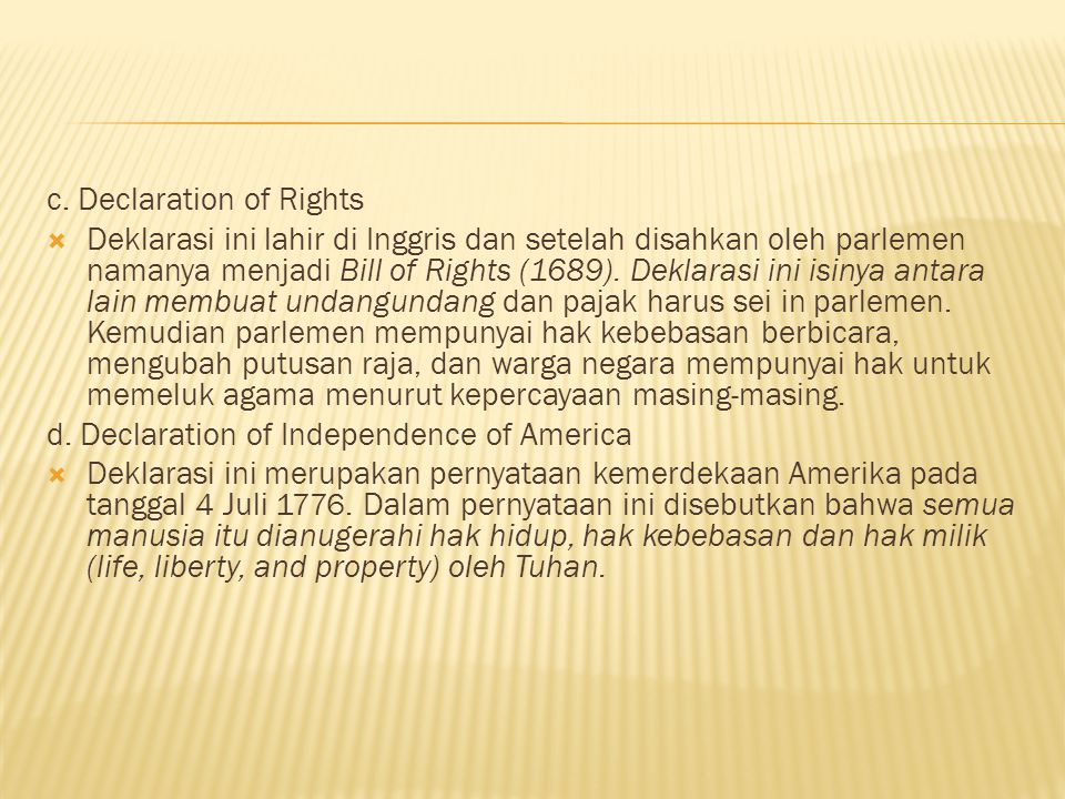 c. Declaration of Rights