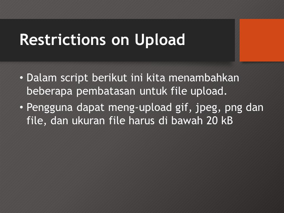 Restrictions on Upload