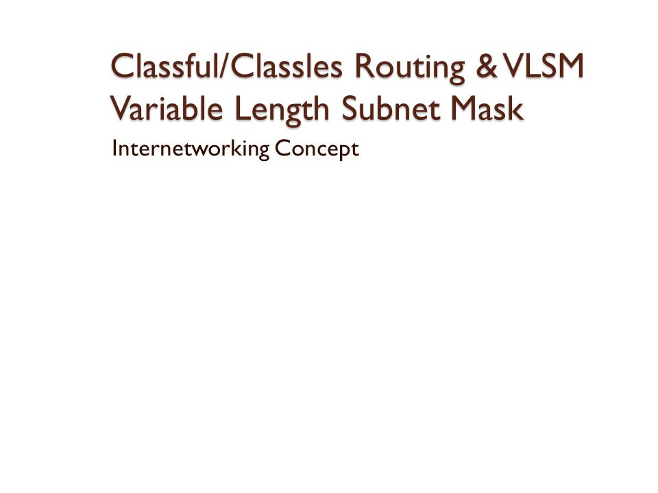 Classful/Classles Routing & VLSM Variable Length Subnet Mask