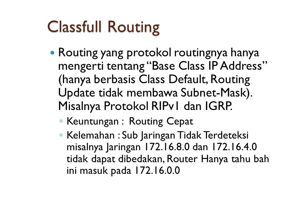 Classfull Routing