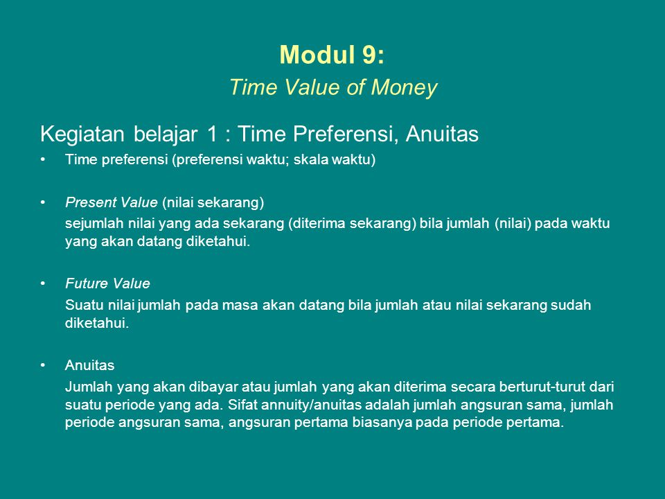 Modul 9: Time Value of Money