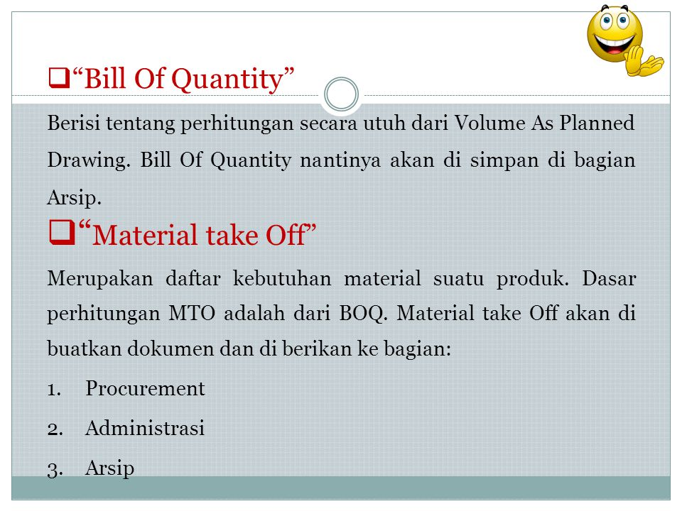 Material take Off Bill Of Quantity