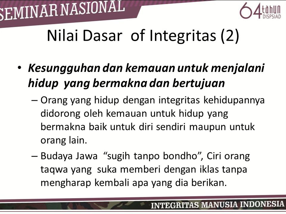 Nilai Dasar of Integritas (2)