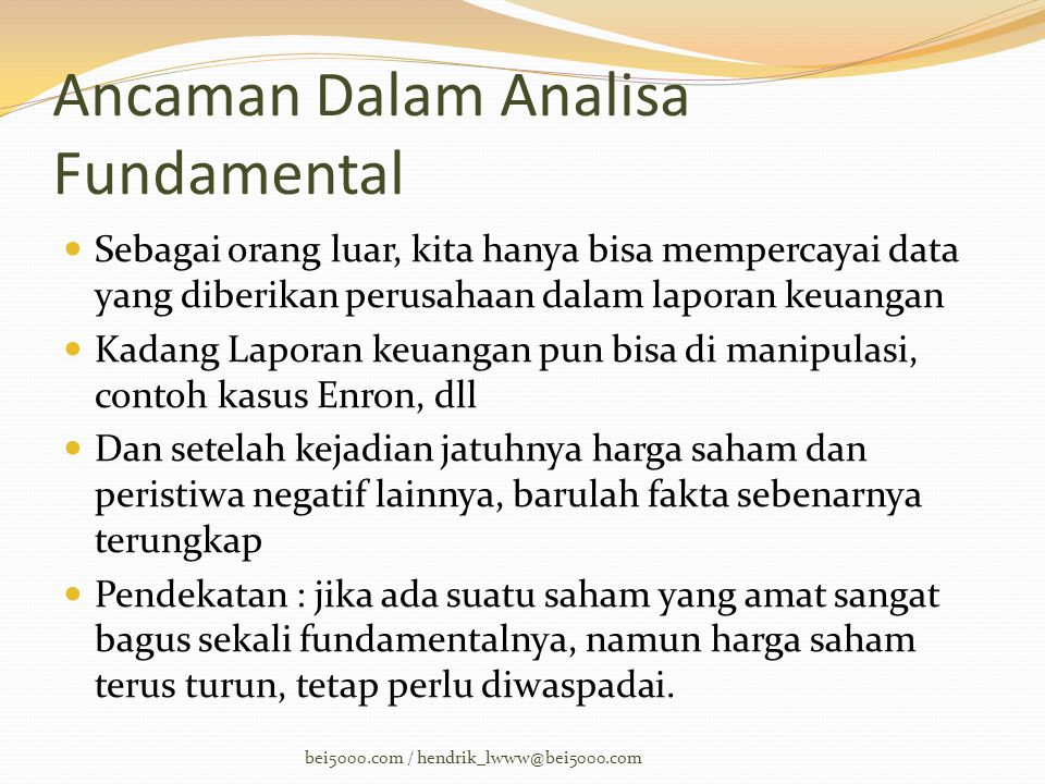 Ancaman Dalam Analisa Fundamental