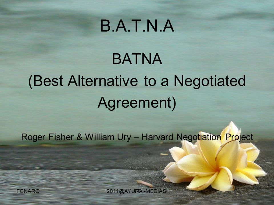 (Best Alternative to a Negotiated