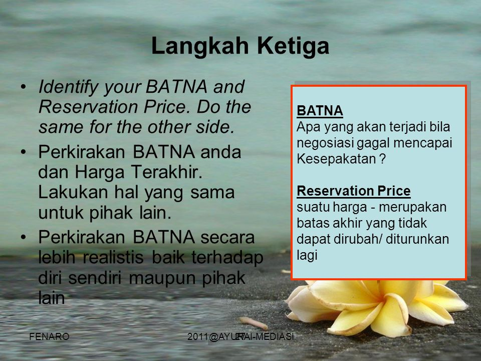 Langkah Ketiga Identify your BATNA and Reservation Price. Do the same for the other side.