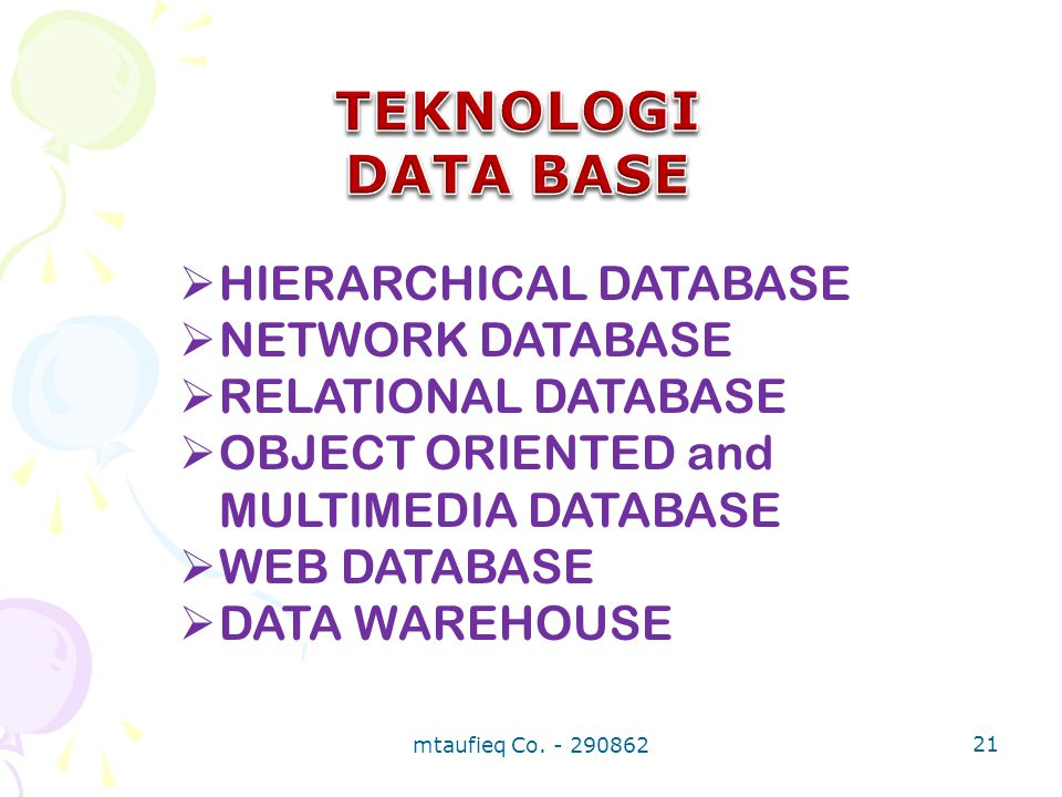 TEKNOLOGI DATA BASE HIERARCHICAL DATABASE NETWORK DATABASE
