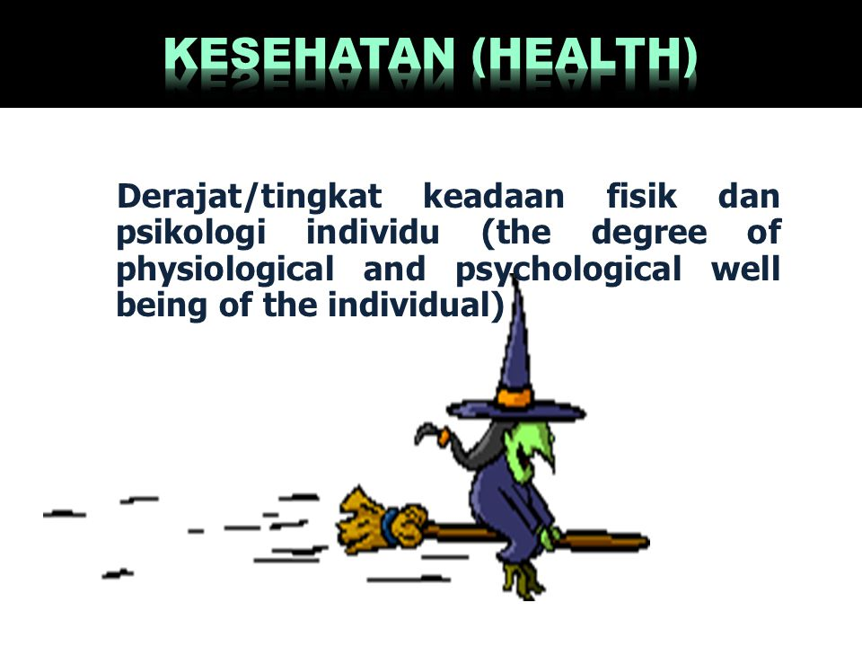 KESEHATAN (HEALTH) Derajat/tingkat keadaan fisik dan psikologi individu (the degree of physiological and psychological well being of the individual)
