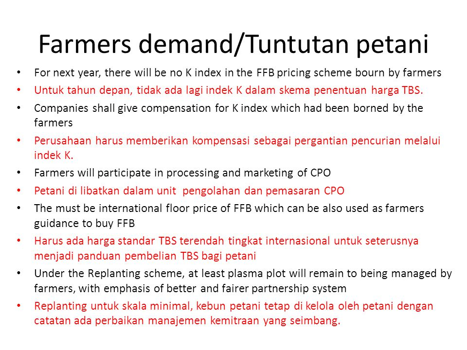 Farmers demand/Tuntutan petani