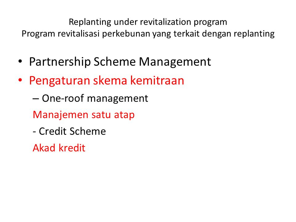 Partnership Scheme Management Pengaturan skema kemitraan
