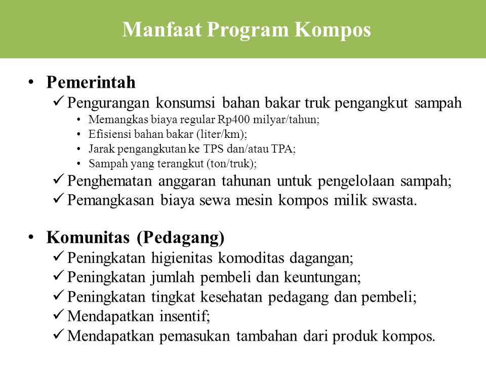 Manfaat Program Kompos