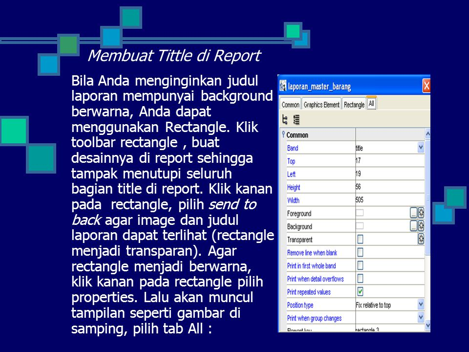 Membuat Tittle di Report