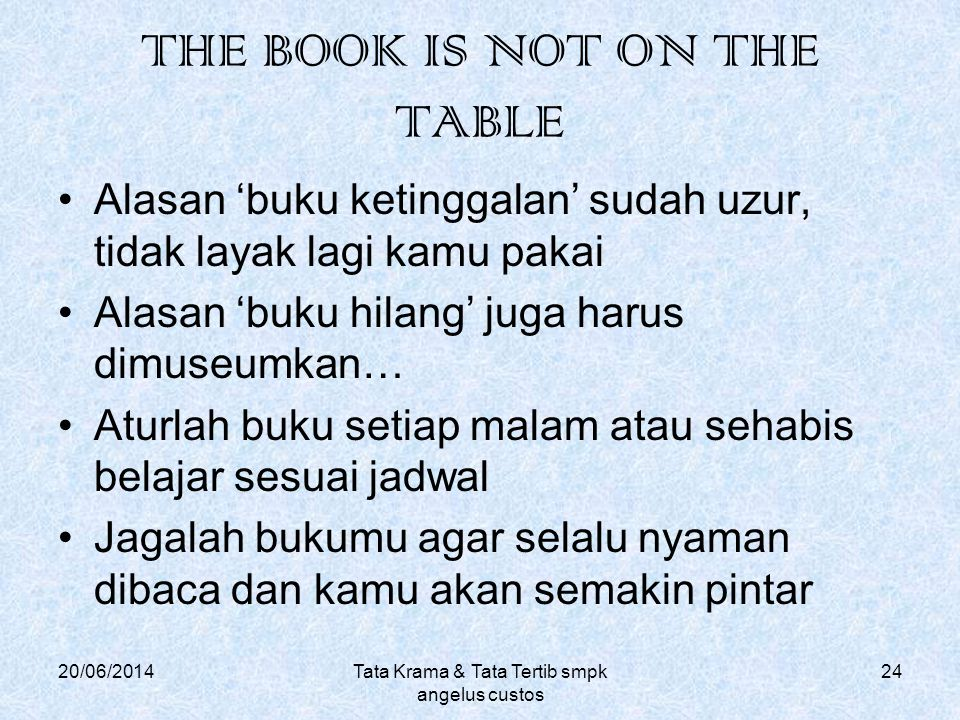 THE BOOK IS NOT ON THE TABLE