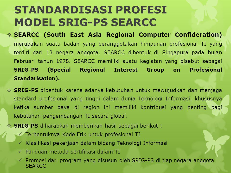 STANDARDISASI PROFESI MODEL SRIG-PS SEARCC