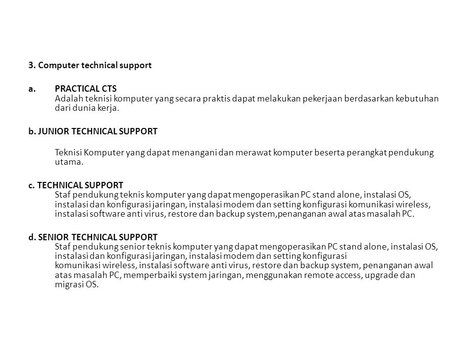 3. Computer technical support