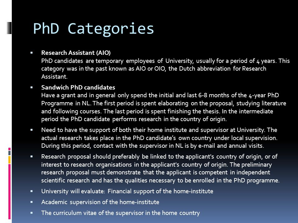PhD Categories
