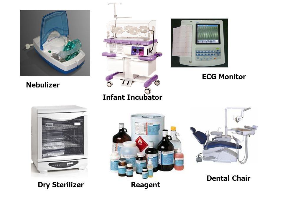 ECG Monitor Nebulizer Infant Incubator Dental Chair Dry Sterilizer Reagent