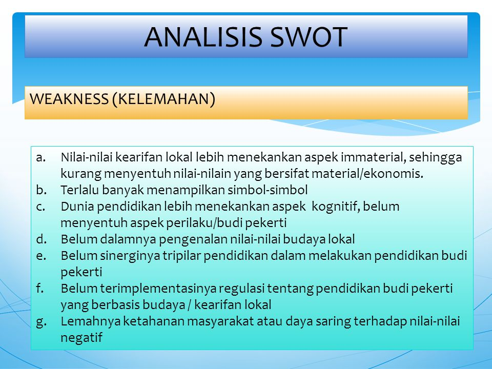 ANALISIS SWOT WEAKNESS (KELEMAHAN)