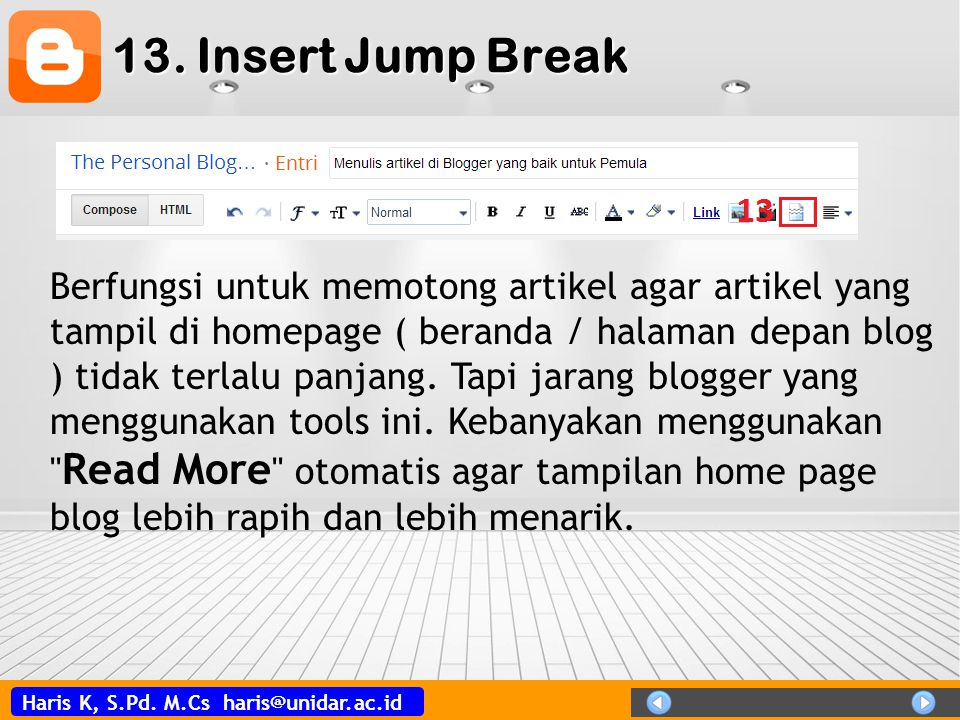 13. Insert Jump Break