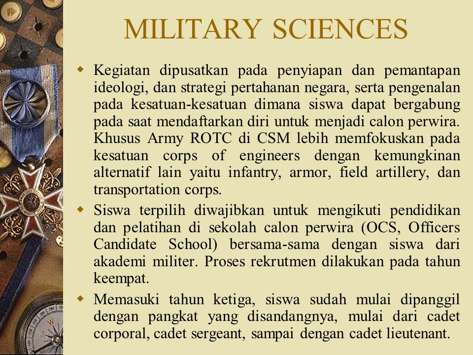 MILITARY SCIENCES