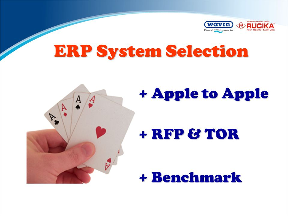 ERP System Selection + Apple to Apple + RFP & TOR + Benchmark