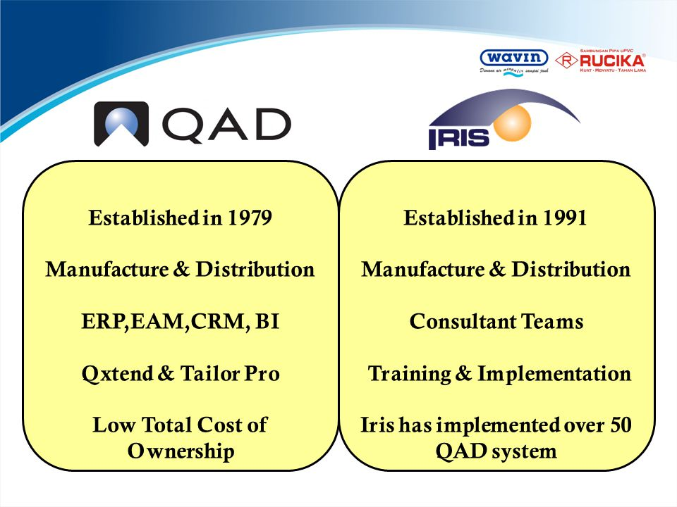 Manufacture & Distribution ERP,EAM,CRM, BI Qxtend & Tailor Pro