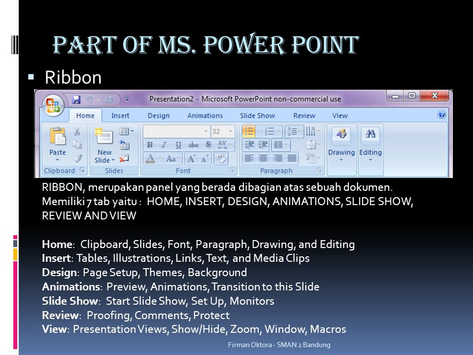 PART OF MS. POWER POINT Ribbon
