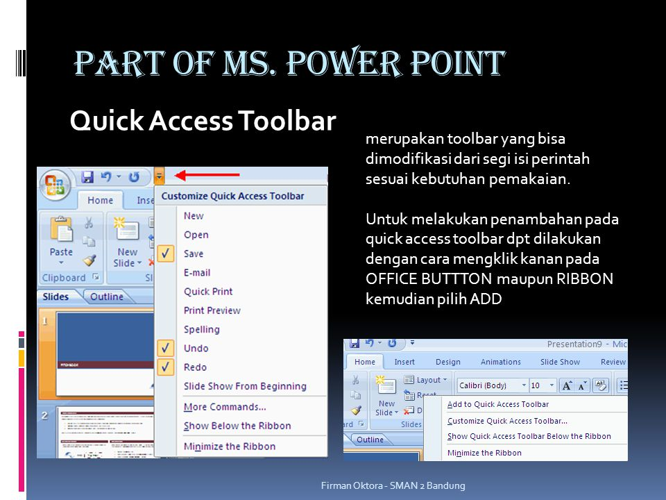 PART OF MS. POWER POINT Quick Access Toolbar