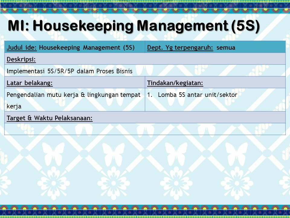 MI: Housekeeping Management (5S)