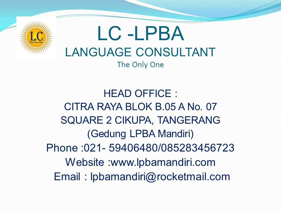 LC -LPBA LANGUAGE CONSULTANT The Only One