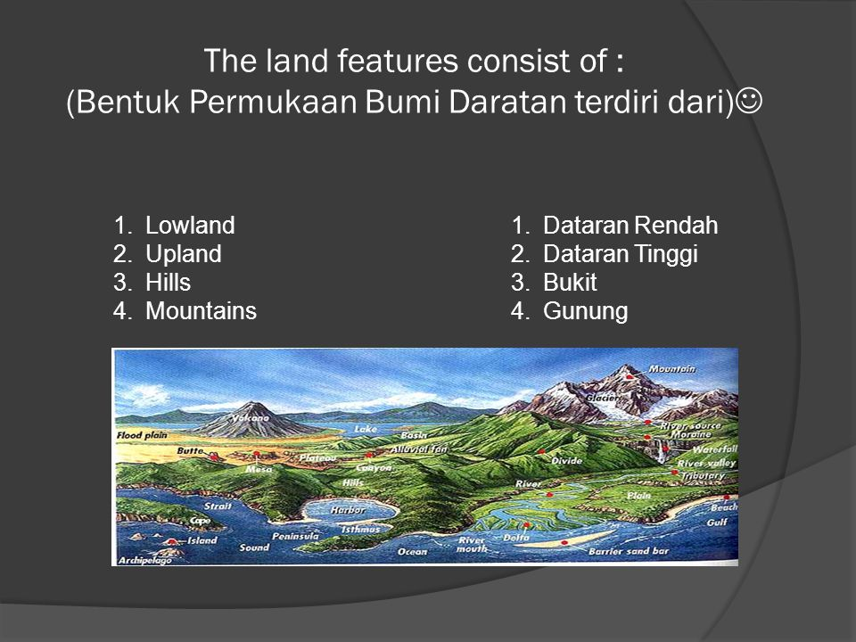 The land features consist of : (Bentuk Permukaan Bumi Daratan terdiri dari)