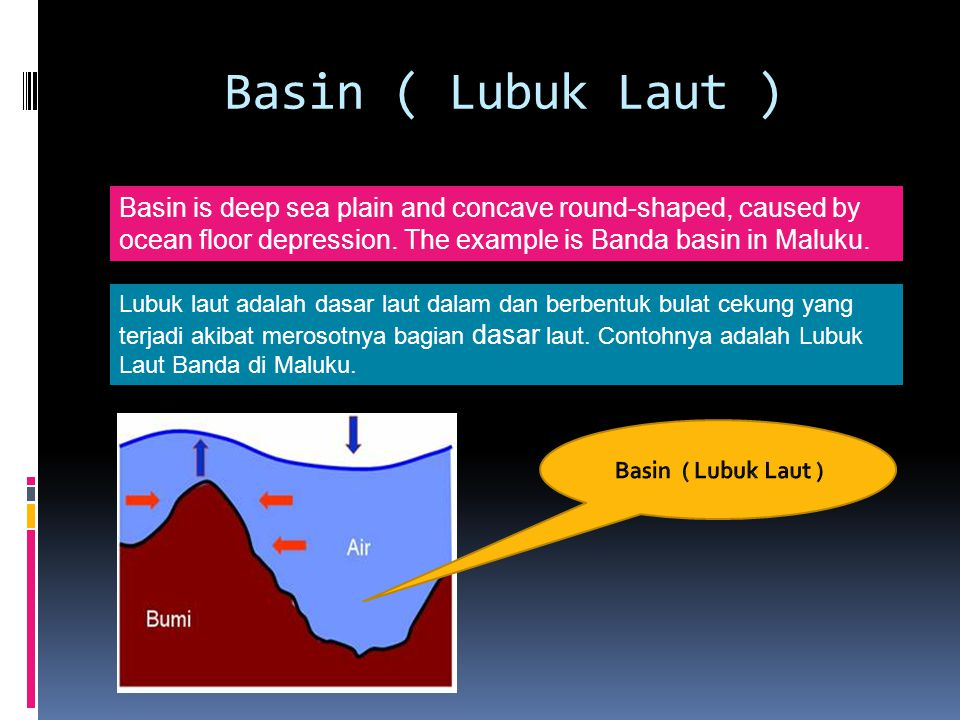 Basin ( Lubuk Laut ) Basin is deep sea plain and concave round-shaped, caused by ocean floor depression. The example is Banda basin in Maluku.
