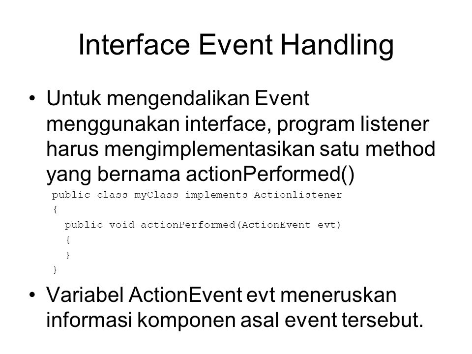 Interface Event Handling