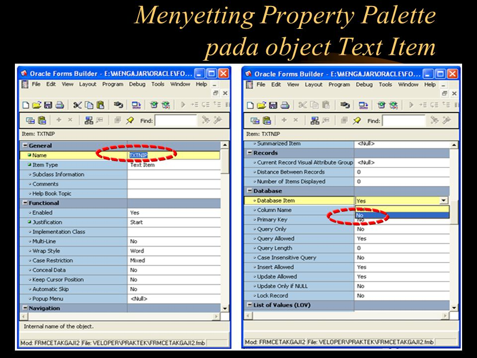 Menyetting Property Palette pada object Text Item